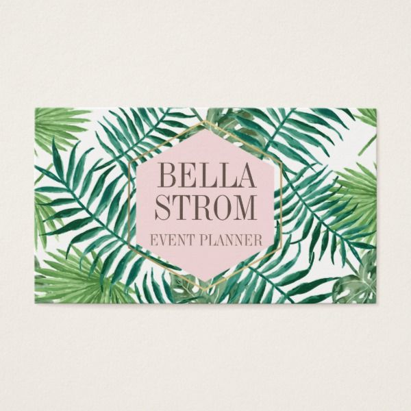 tropical leaves pink gold logo business card custom office supplies