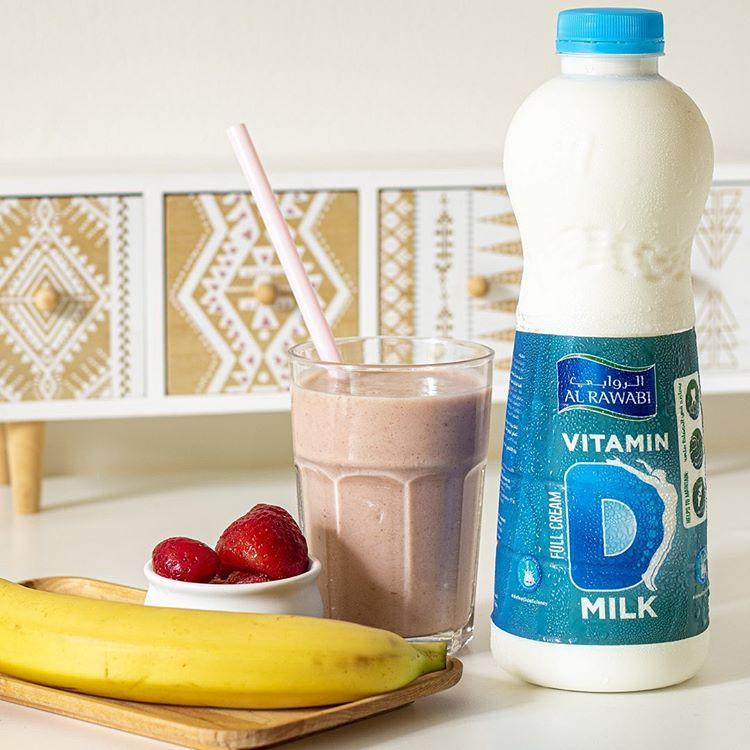 Alrawabiuae On Instagram Recipe For A Vitaminfullsmoothie One Cup Of Vitamin D Milk Full Cream 1x Bana Frozen Strawberries Vitamins Vitamin Water Bottle