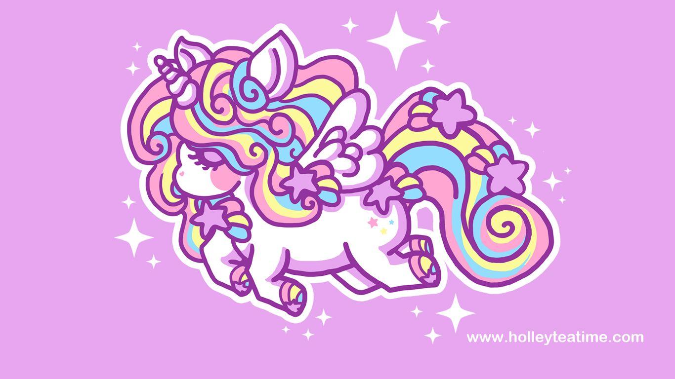 Cute Unicorn Rainbow Wallpaper Wallpapers Holley Tea Time Unicorn Wallpaper Kawaii Unicorn Unicorn Illustration