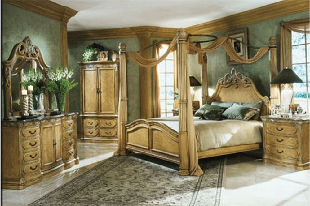 La Française Aico Michael Amini King Bedroom Set Four Pieces Walnut ...