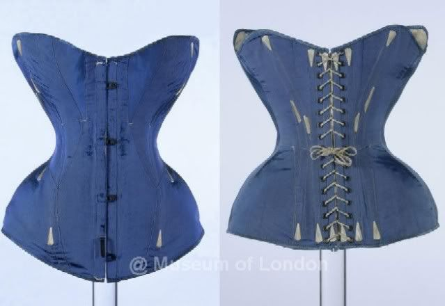 A corset from the Museum of London. Blue with silver-gery flossing and interesting patterning.