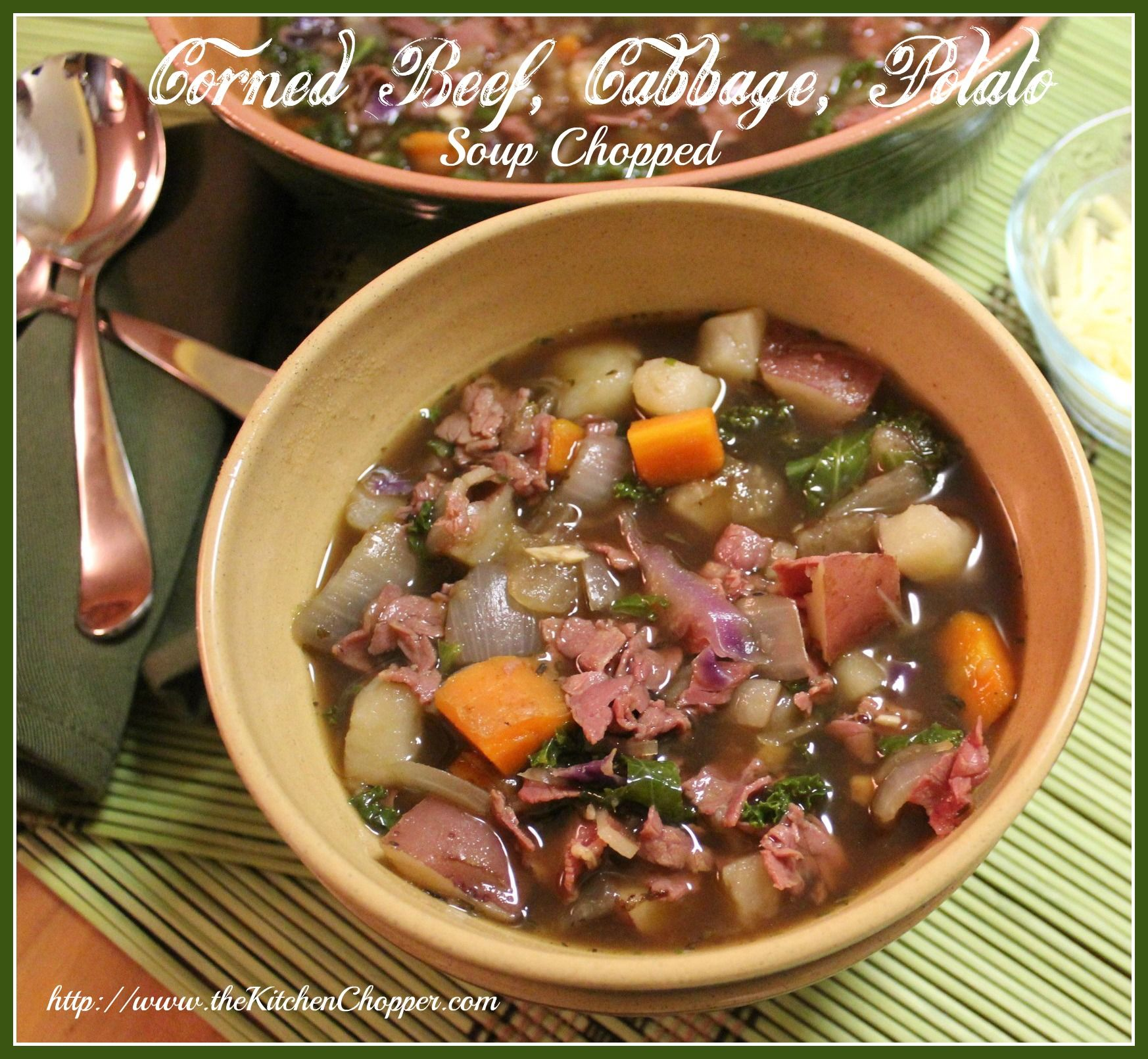 Corned Beef, Cabbage, Potato Soup Chopped on MyRecipeMagic.com