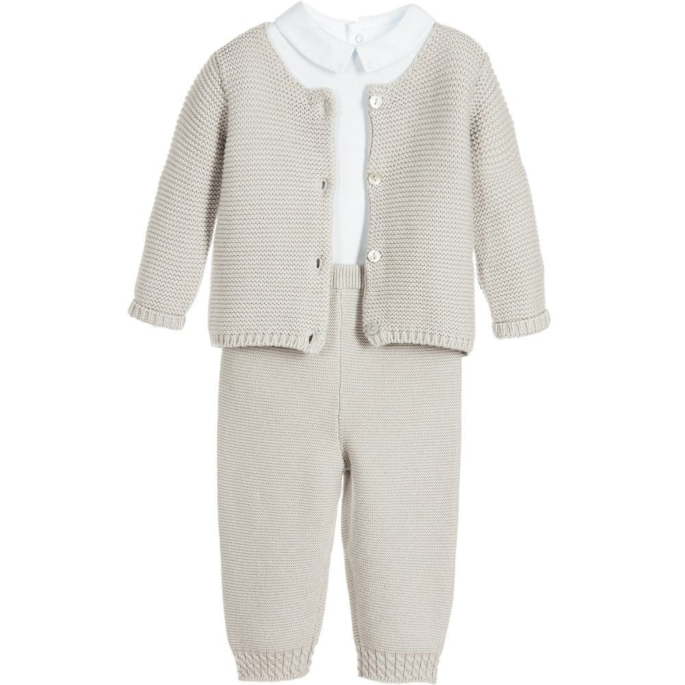 Baby Boys 3 Piece Knitted Trouser Set | Blue bodysuit, Boys and Babies