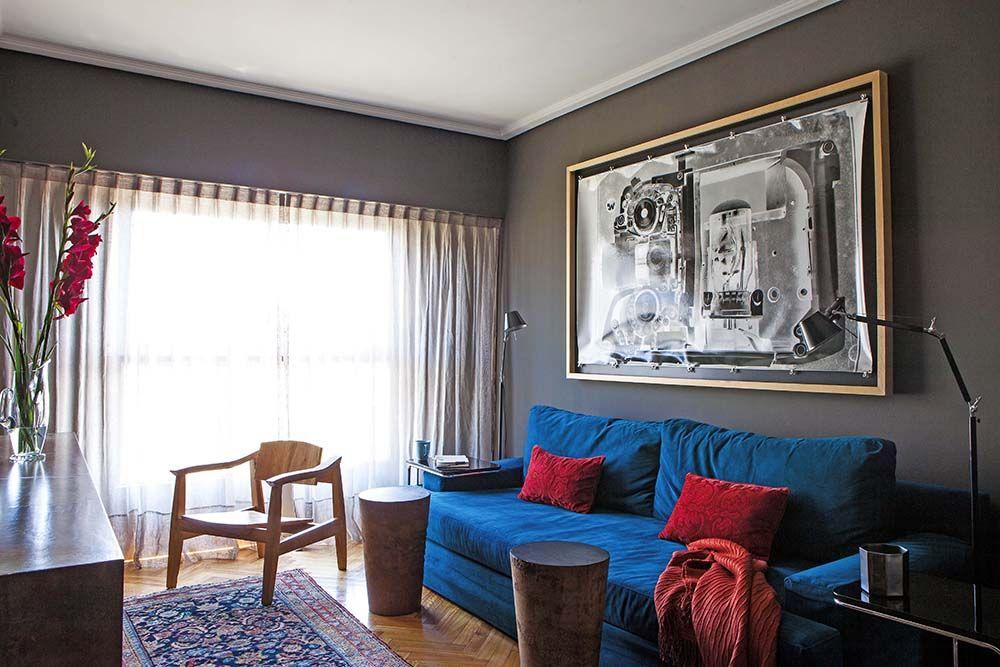 En la sala de estar de este departamento paredes pintadas - Paredes pintadas de dos colores ...