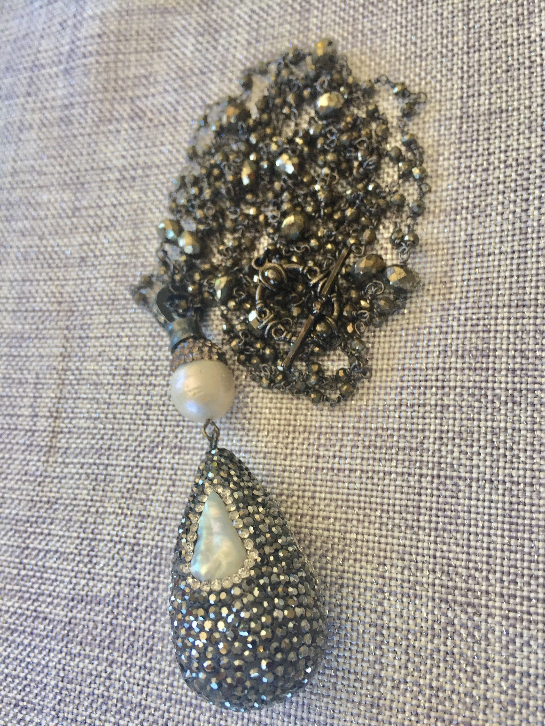 Pyrite pendant necklace pyrite rosary chain necklace pearl pyrite pendant necklace pyrite rosary chain necklace pearl enhancer disco ball baroque pearls aloadofball Image collections