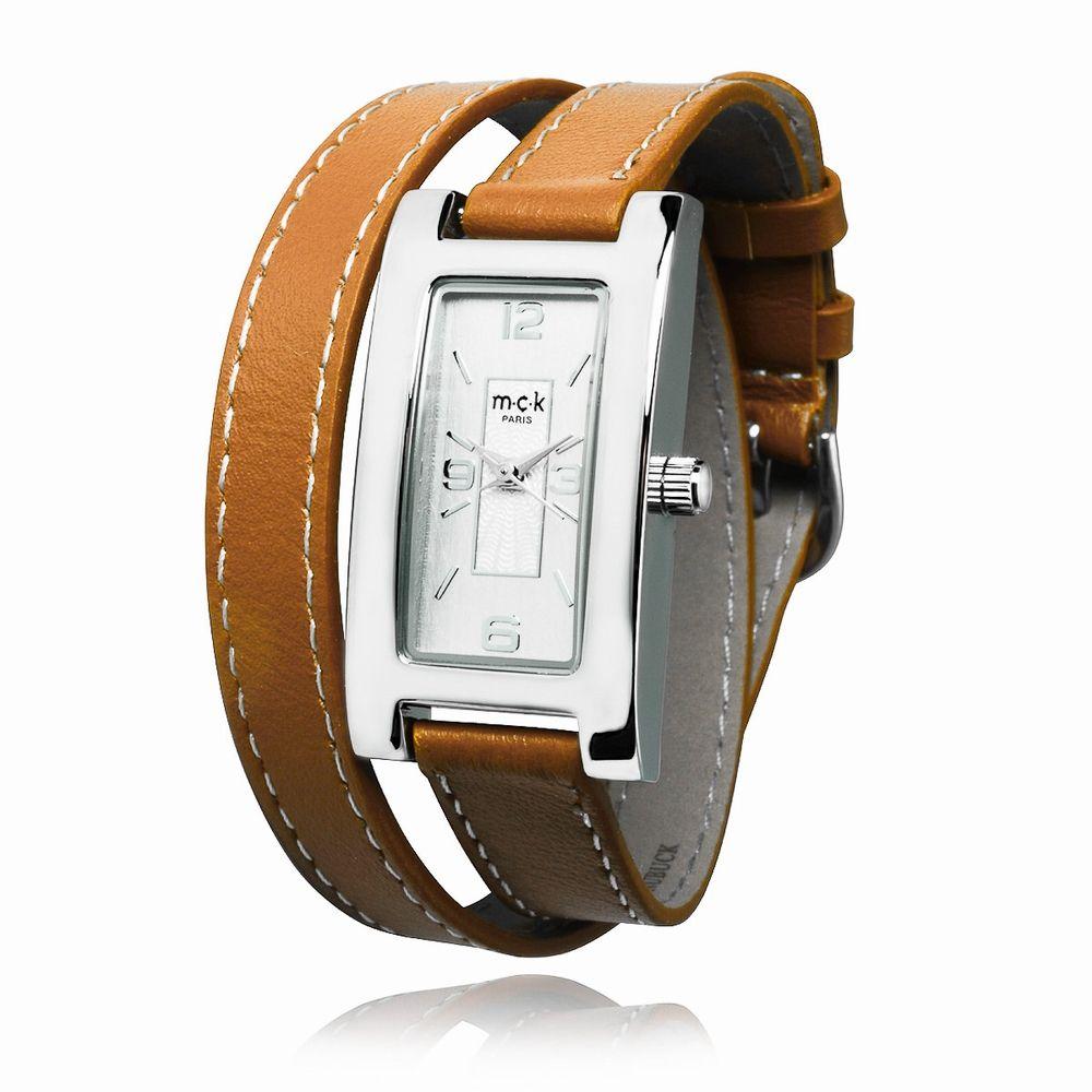 montre quartz femme double bracelet cuir mck loaven camel accessoires pinterest. Black Bedroom Furniture Sets. Home Design Ideas