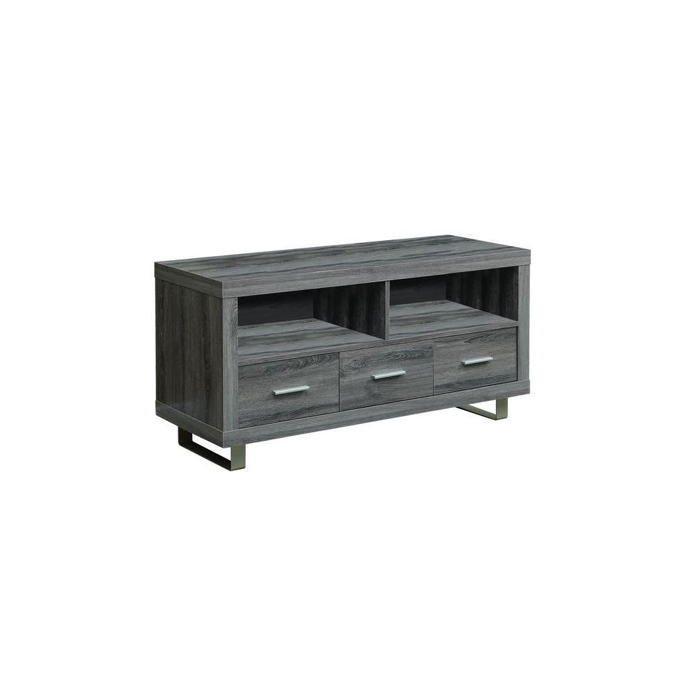 Tv Stand 48 Inch L Dark Taupe With 3 Drawers Monarch Specialties Tv Stand Home