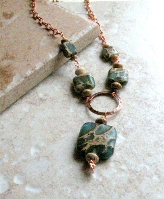 Aqua Terra Necklace - Aqua Terra, Picture Jasper, Copper