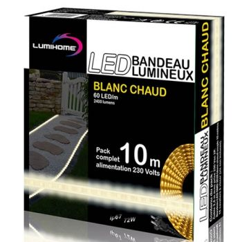 ruban led blanc chaud pack 10m luminaires. Black Bedroom Furniture Sets. Home Design Ideas