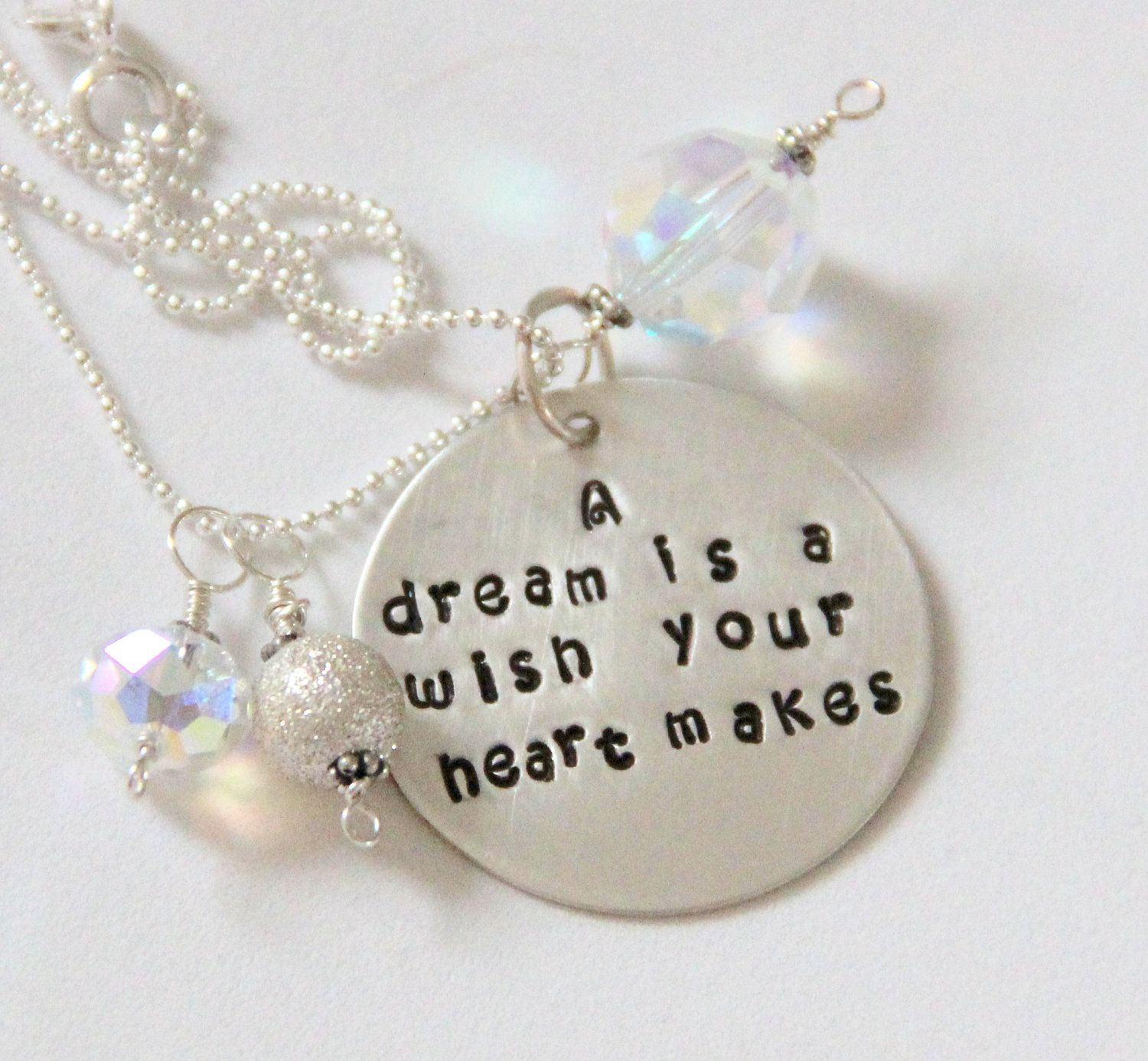 Cinderella Graduation Quote Necklace A Dream Is A Wish Your Heart