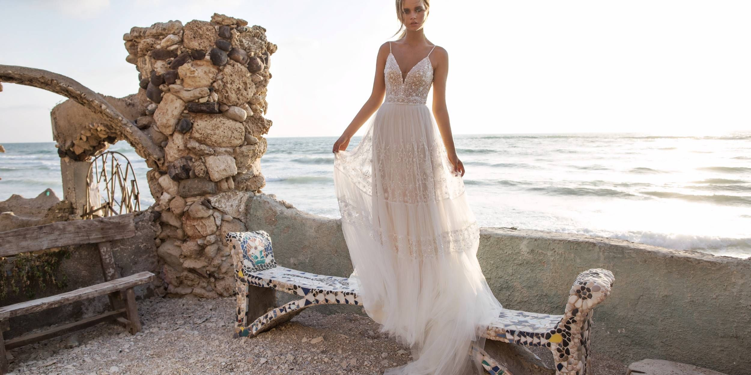 Romantic bohochic flowy gown glamorous beaded top paired with an