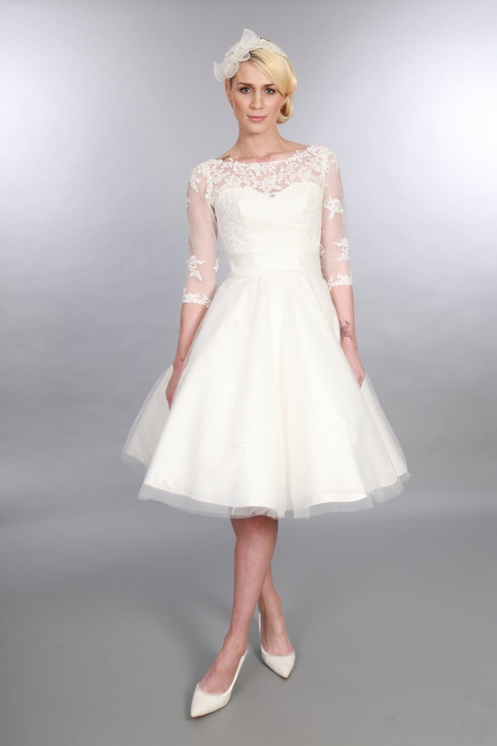 Timeless Chic POLLY Tea Length Vintage 1950s Style Wedding Dress Sleeves