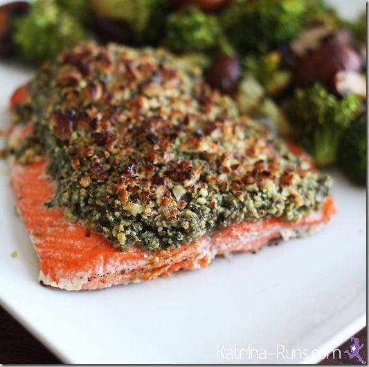 basil pecan salmon