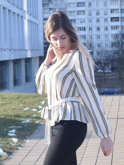 684795dd1a SHEIN White Office Lady Elegant Striped Print Scoop Neck Long Sleeve Blouse