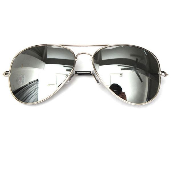 bcedf2a3bd2 Unisex Silver Mirror Pilot Style Metal Frame Sunglasses Shades Glasses  (5.09 AUD) ❤ liked on Polyvore featuring men s mirrored sunglasses