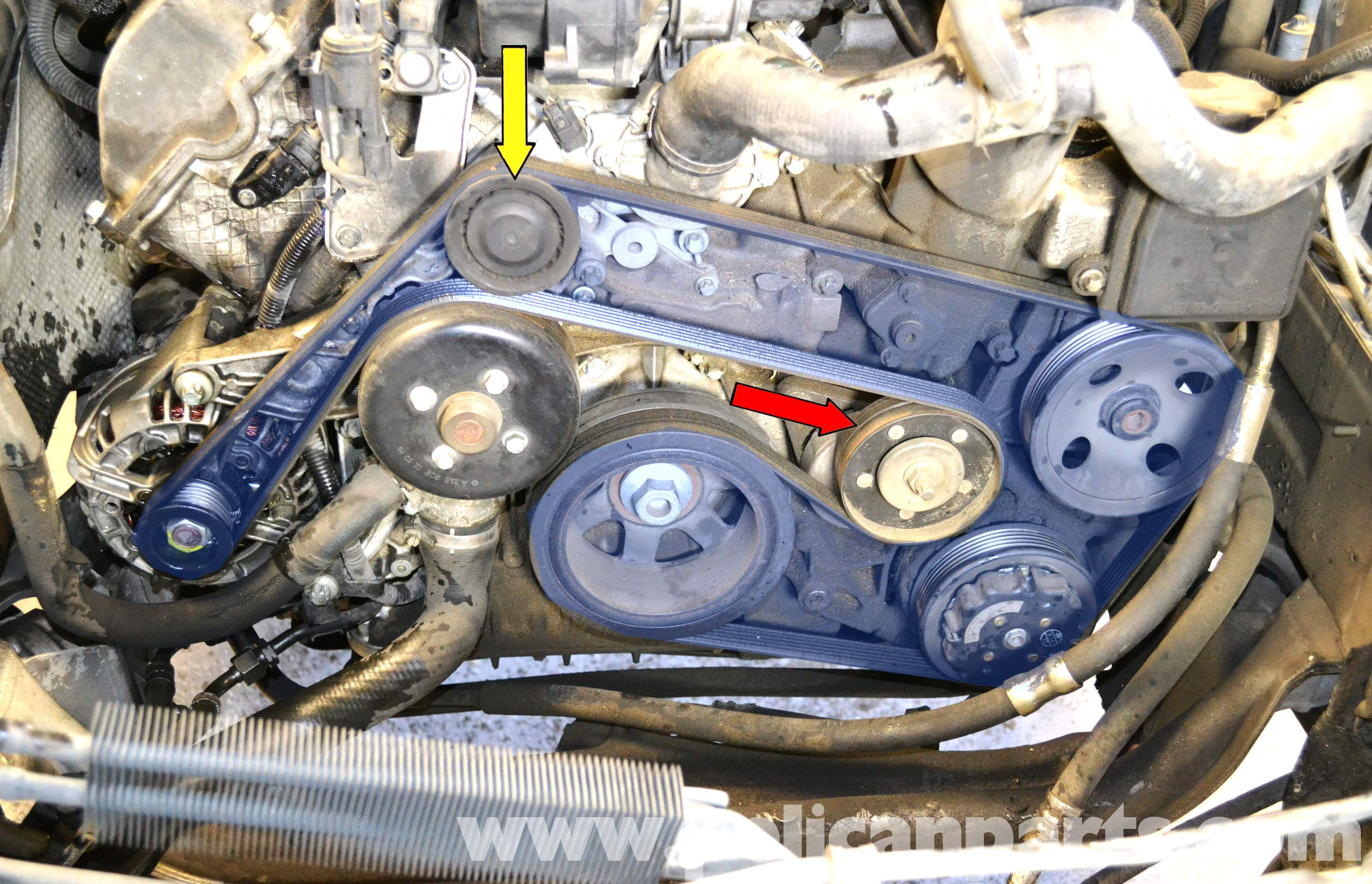 medium resolution of mercedes benz w203 water pump replacement 2001 2007 c230 c280 mercedes c240 in addition 2000 ford expedition serpentine belt diagram