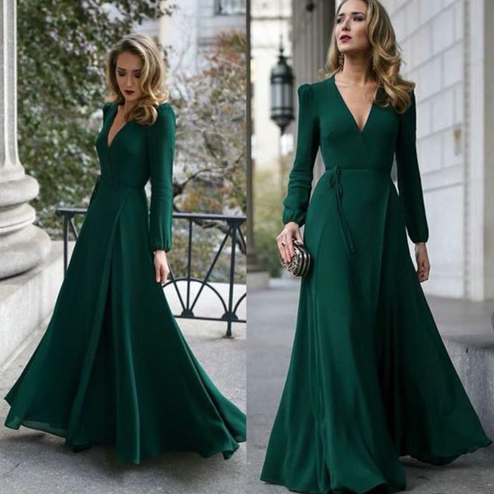 long sleeve prom dresses green deep v neck evening dresses chiffon evening dress long cocktail dresses formal dresses