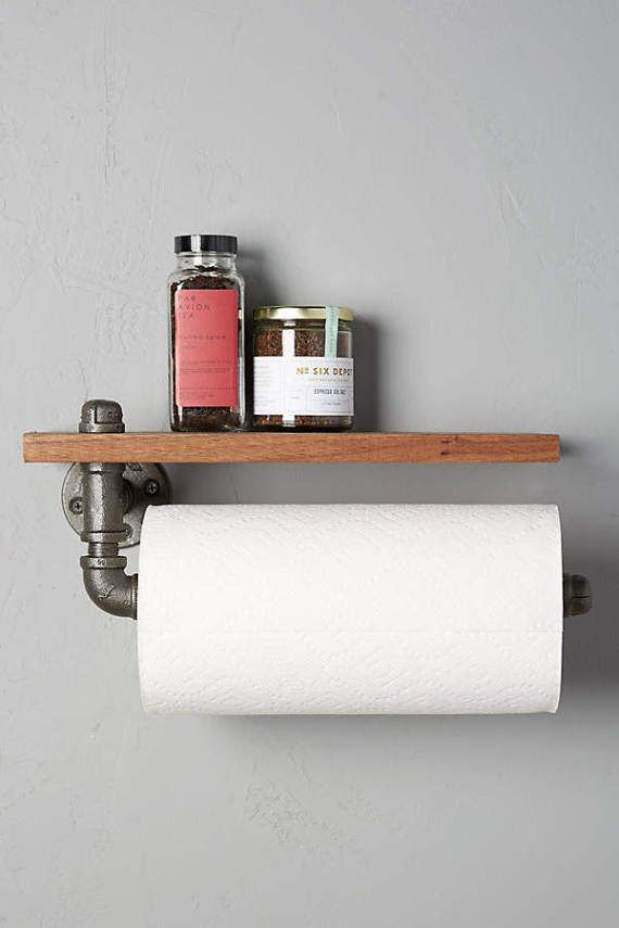 Industrial Pipe Paper Towel Holder with Shelf, Metal Pipe Paper ...