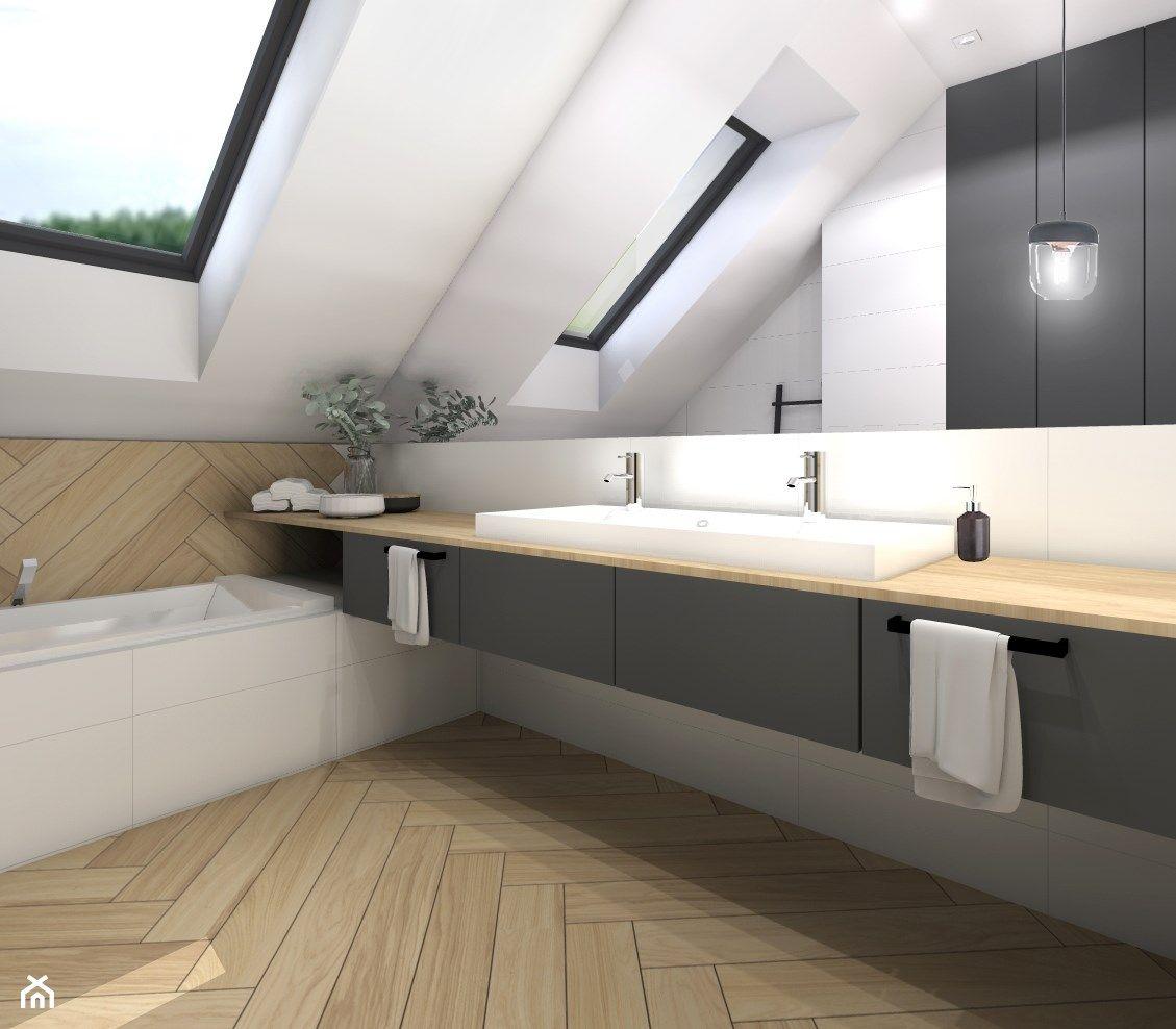 Photo of Dom 120m2,Brzezie – Mała biała łazienka na poddaszu w domu jednorodzinnym z oknem, styl skandynawski – zdjęcie od STUDIO PNIAK