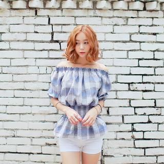 Off-Shoulder Glen Check Top' with Free International Shipping at YesStyle.com