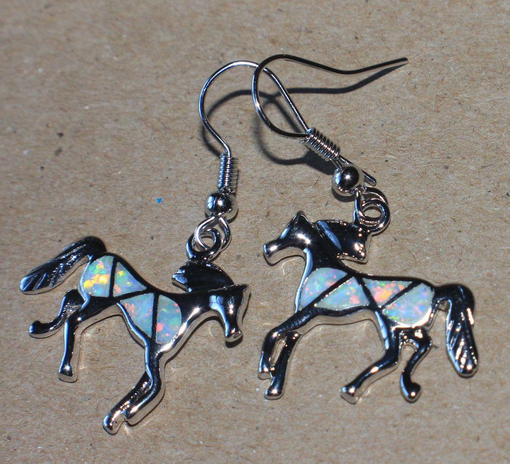 white fire opal earrings Gemstone silver jewelry modern chic Horse drop dangle S #DropDangle