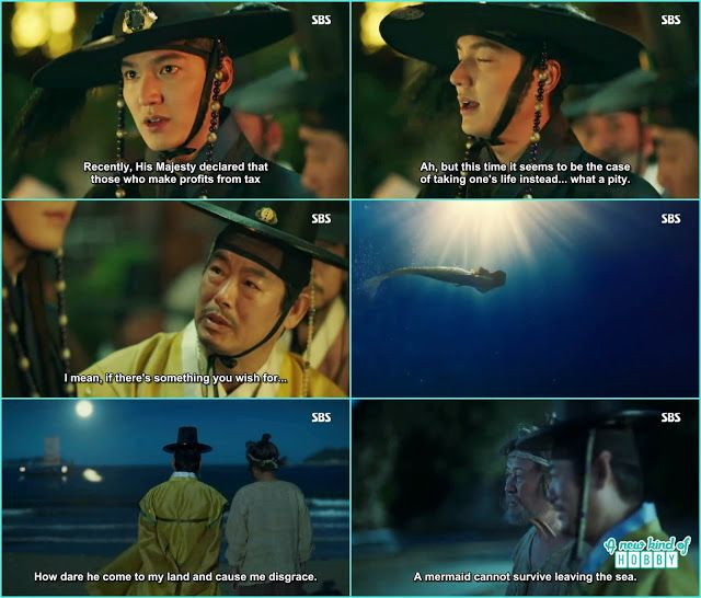 the magistrate threat the elder as of his triple tax evading and in exchange give the mermaid to him - The Legend of the Blue Sea - Episode 1 (Eng Sub)