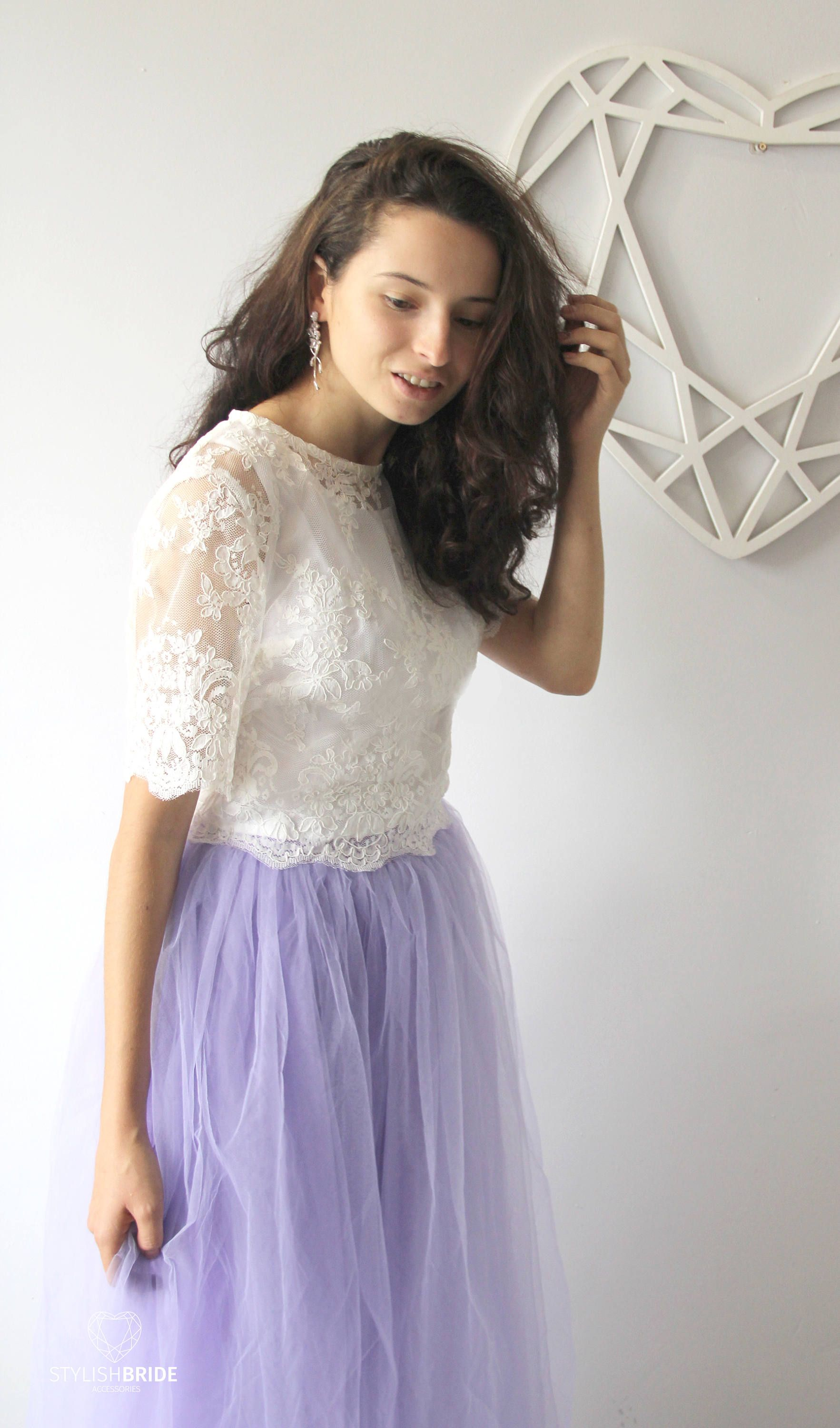 6907e56c88 Belle Dress Tulle Set Lace Crop Top with Sleeves and Tulle skirt ...