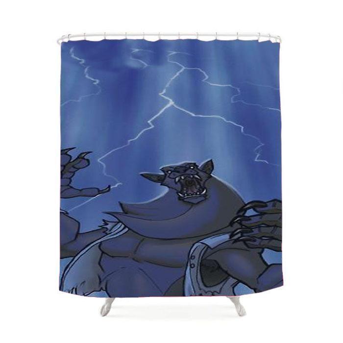 Badass Werewolf Roaring In Lightning Shower Curtain Shower