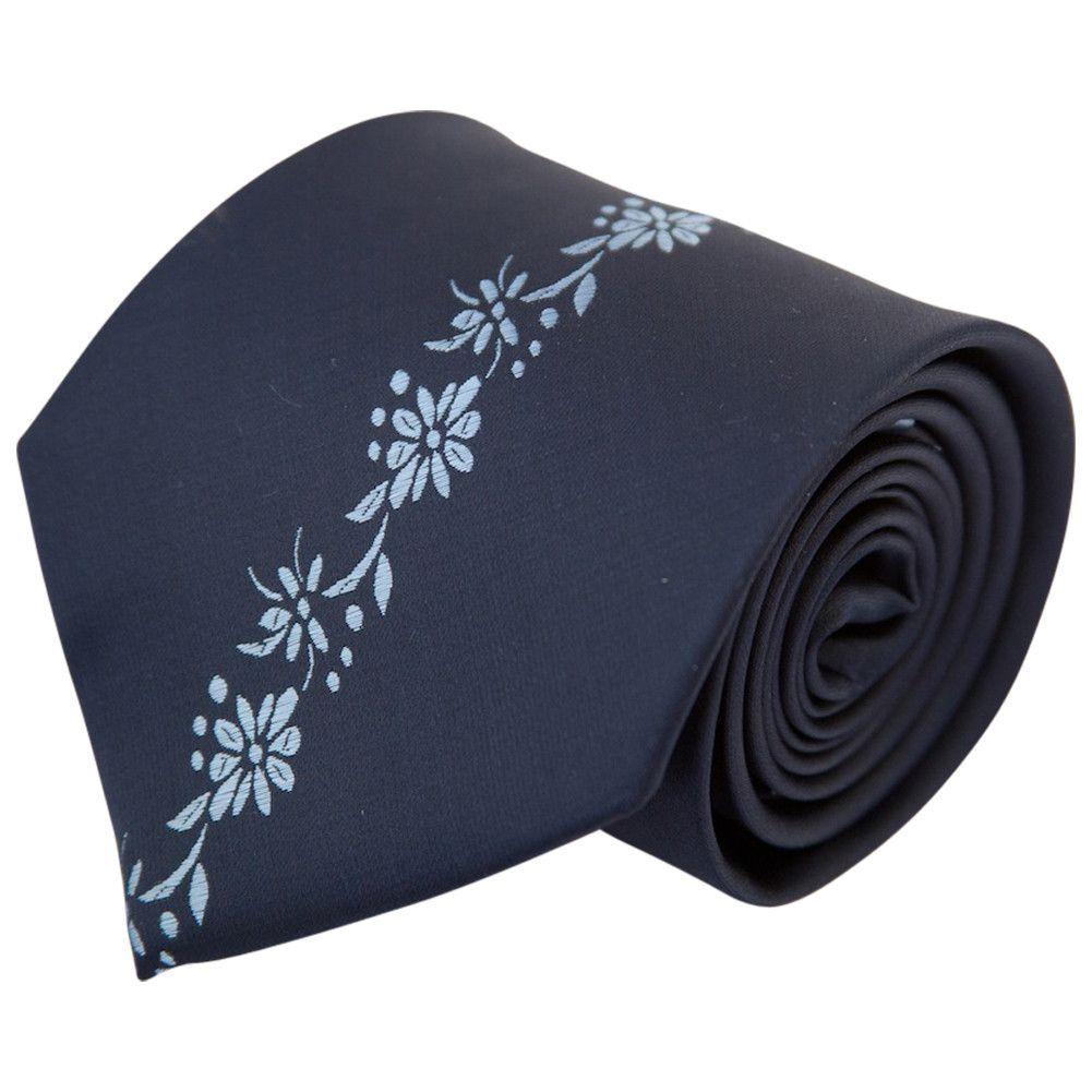 Dark Navy with Light Blue Center Floral Stripe (Traditional Tie)