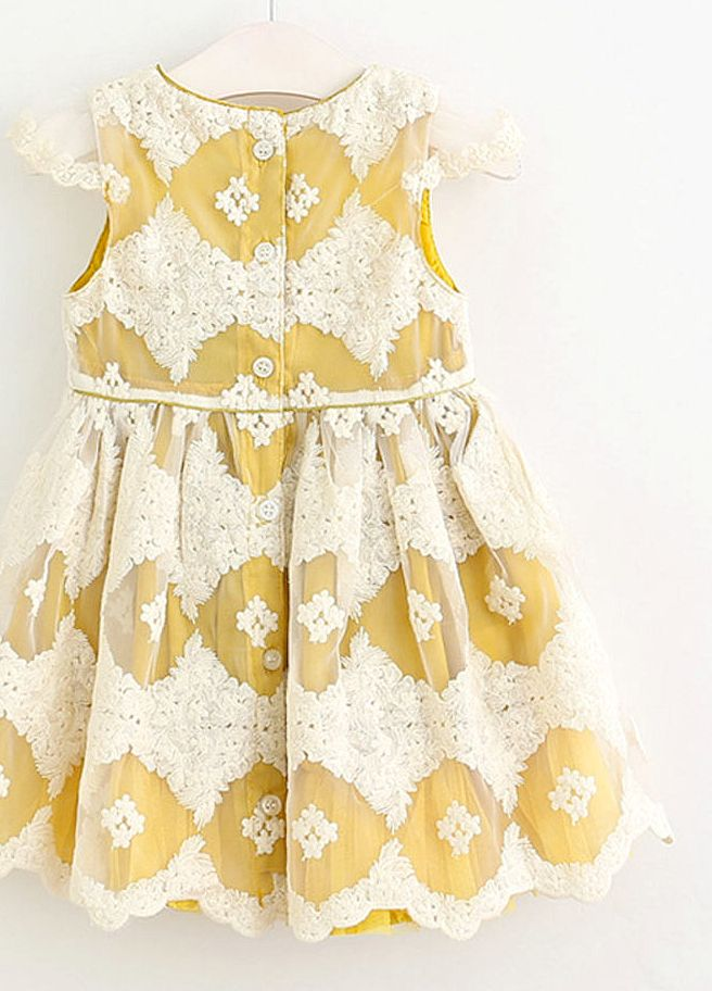 4f1c61e99 Embroidered Lace Dress | Etsy Cutest dress for little girls! Love the  yellow/mustard color, and the lace on top is gorgeous.