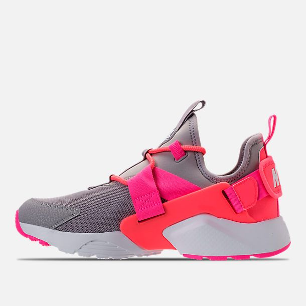 eae992c788 Left view of Women's Nike Air Huarache City Low Casual Shoes in Atmosphere  Grey/Hot Punch/White Diggin the vibrant colors #90sbaby