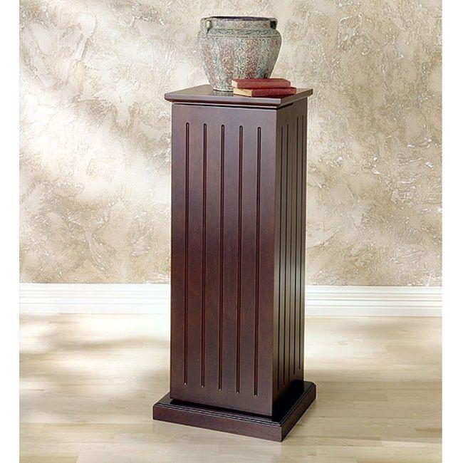 Vintage Plant Stand Pedestal Media Storage Column Furniture Wood