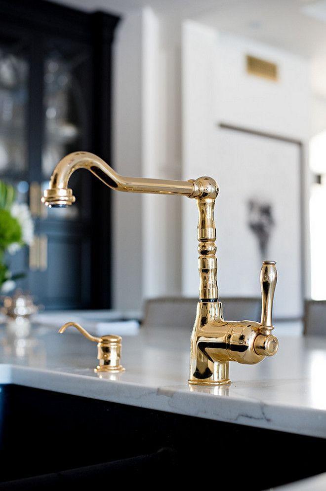 Polished Brass Faucet Kitchen Polished Brass Faucet Kitchen Polished Brass Faucet With Black Sink A Luxury Kitchen Design New York Decor Brass Kitchen Faucet