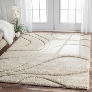 NuLOOM Soft And Plush Curves Ivory Beige Shag Area Rug X Size Olefin Abstract