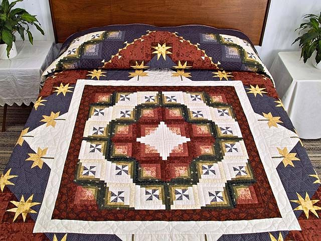 King Plum Gold and Burgundy Breeze Log Cabin Quilt Photo 1