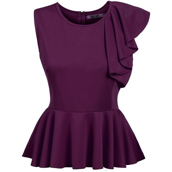 d093e032ef378 Beyove Women s Ruffles Peplum Long Sleeve Dressy Blouse Tops ( 9.99) ❤ liked  on Polyvore featuring tops