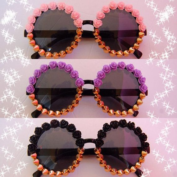 Flower & Spike Embellished Sunglasses $35 at www.staywild.etsy.com