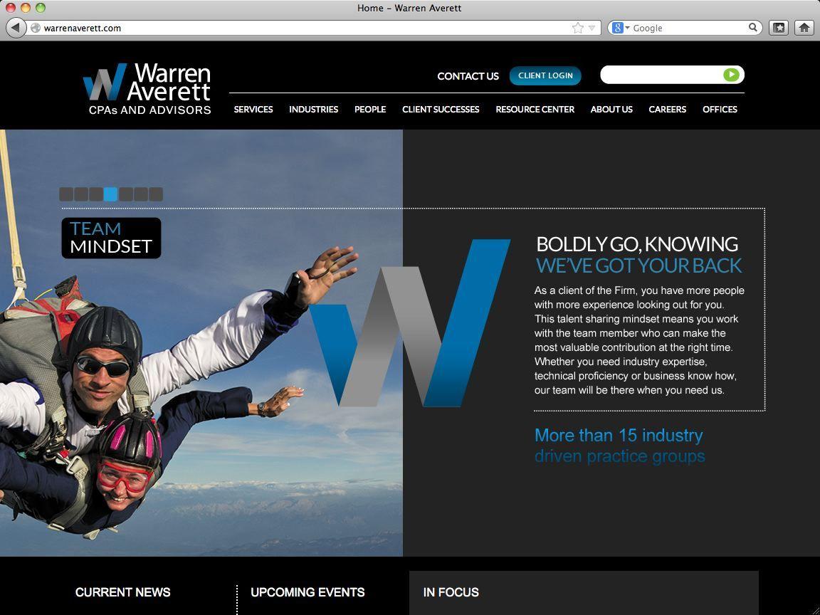 Warren Averett Website Homepage Web Development Design Office Team Development