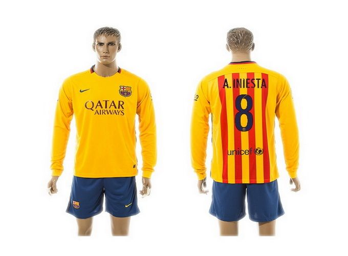 2015-2016 Barcelona 8 A.INIESTA Away Yellow Long Sleeve Soccer Jersey 40e5cebc9a7