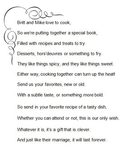 recipe perfect wedding cake poem recipe poem for britt and mike britt s bridal shower 19045