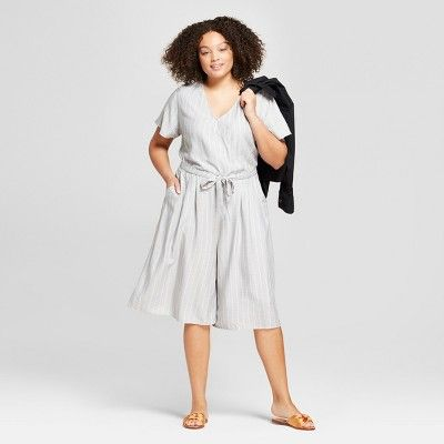 0a3f65bd838 Women s Plus Size Striped Short Sleeve Tie Waist Jumpsuit - A New Day™ Gray White    Target