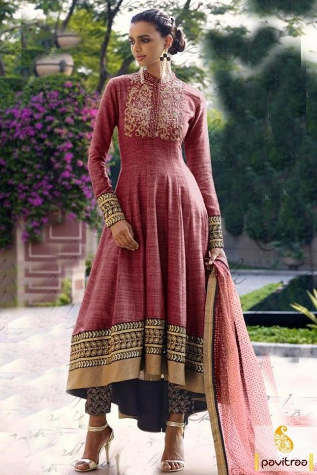 9d4cc72a8a Beautiful embroidery work with chines collard style fancy maroon net heavy  work bridal anarkali dress online