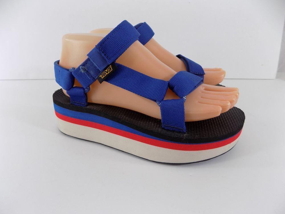 a767a74b846 Teva Flatform Universal Platform Red White and Blue Nylon Sandals Women s 6  M  Teva  PlatformsWedges  Casual