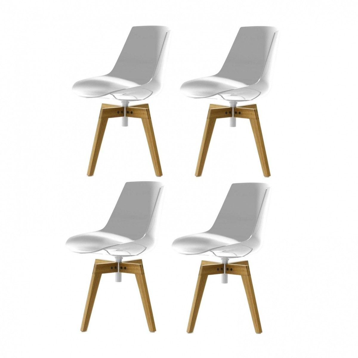 Mdf Italia Flow Chair With Oaken Legs Set Of 4 Chair Mdf Italia Dining Chairs