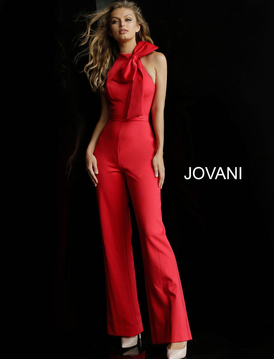c9a3d845e63 Style 63523 from Jovani is a High Neck Sleeveless Prom Jumpsuit with a bow  at the neckline and a racer back.
