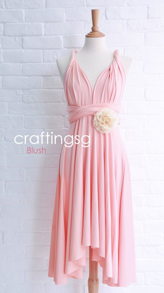 Bridesmaid Dress Infinity Dress Blush Knee Length Wrap Convertible ...