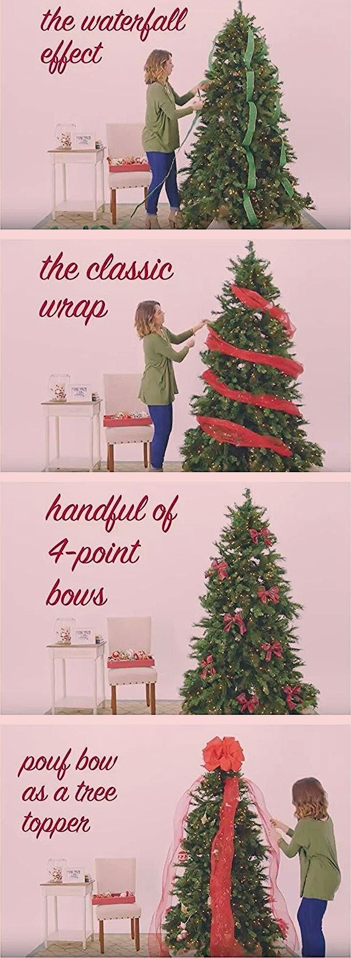 Christmas tree ribbon garlands 4 ways #howtoputribbononachristmastree