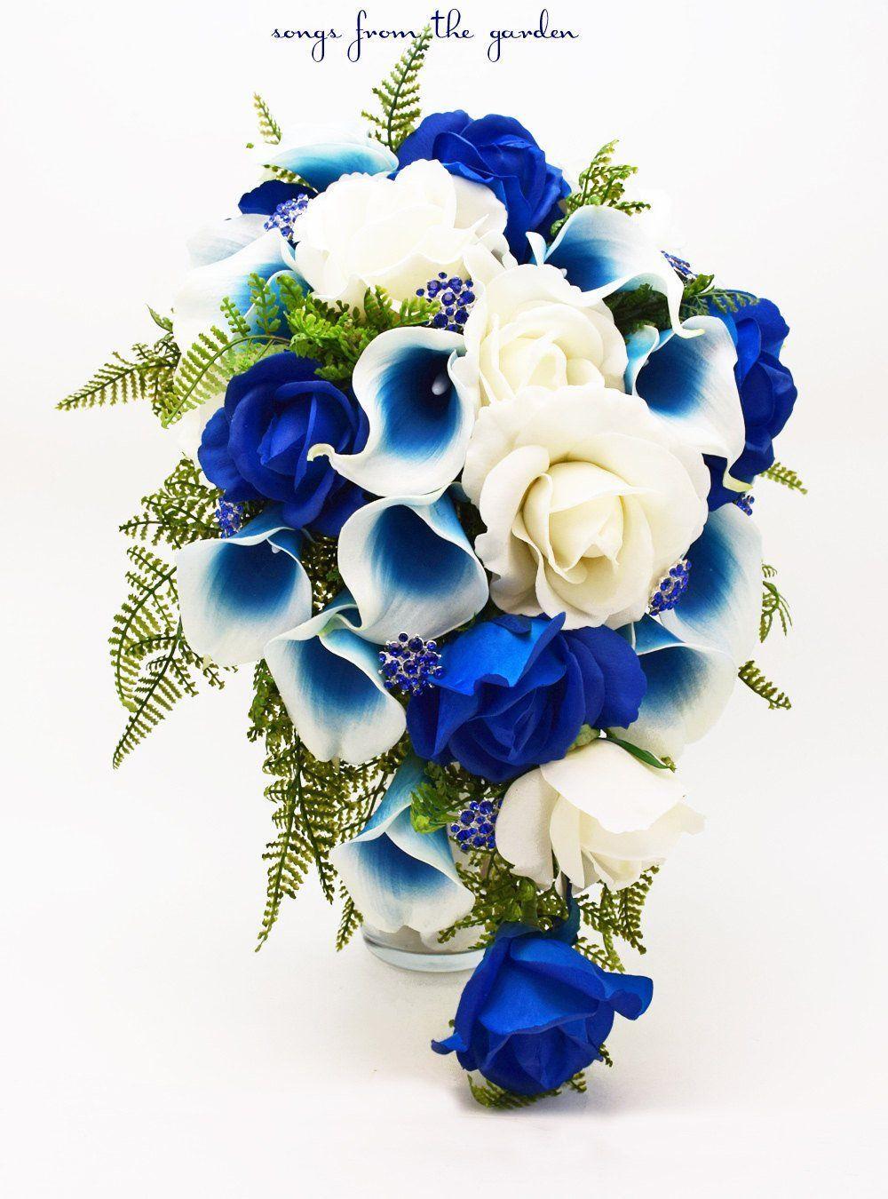 Cascade bridal bouquet blue picasso callas white royal blue roses cascade bridal bouquet blue picasso callas white royal blue roses blue rhinestones accents izmirmasajfo