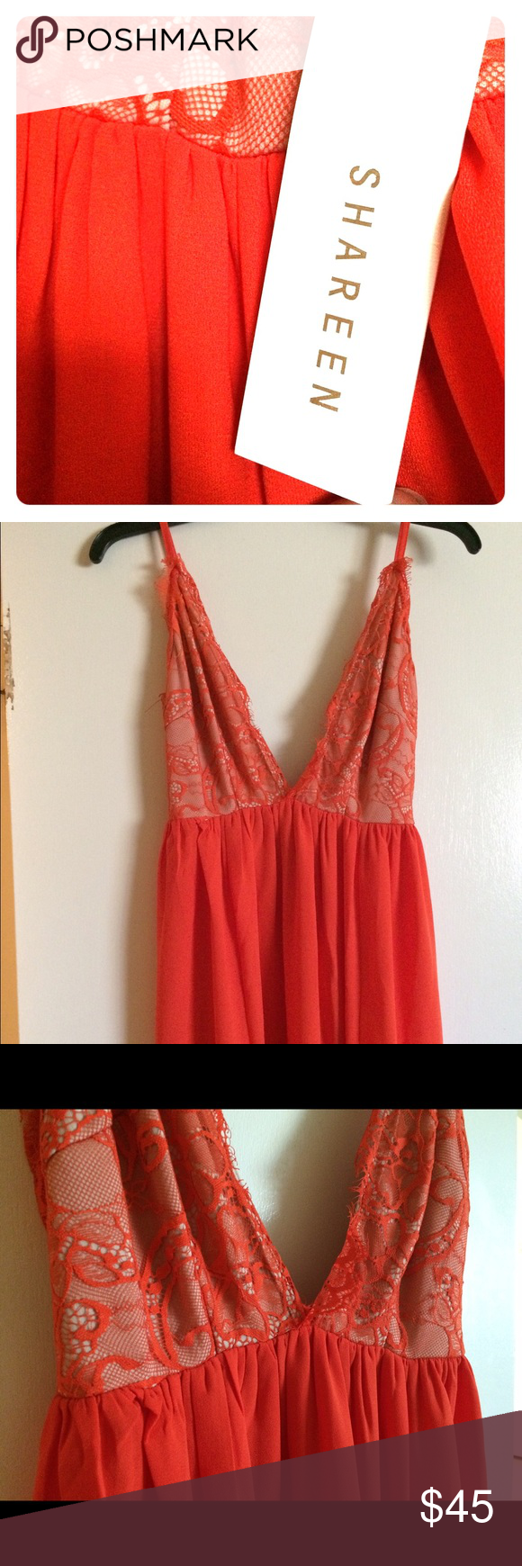 Beautiful Shareen dress. Ankle length with lace! Never worn and still has the tag on it. Gorgeous orange color, flows very well, and has lace all around the top part. shareen Dresses