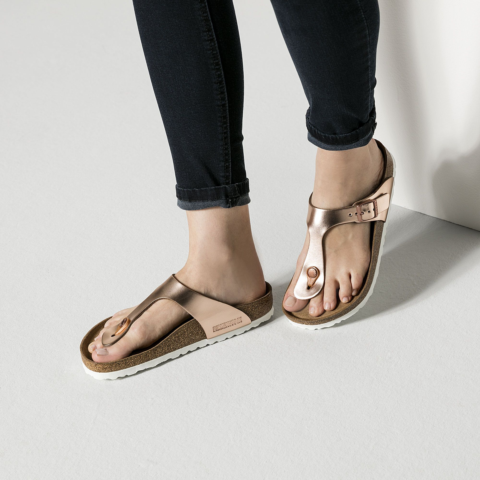 Gizeh Natural Leather Soft Footbed Metallic Copper Shoe Inspiration Black Wedge Shoes Birkenstock